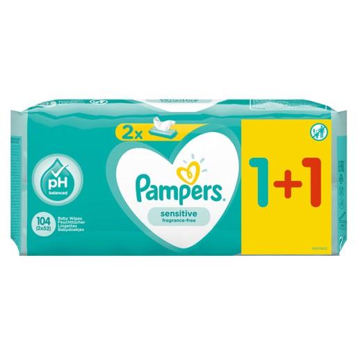Pampers Πακέτο Προσφοράς Sensitive Wipes Μωρομάντηλα Ιδανικά για την Ευαίσθητη Επιδερμίδα 2x52 Τεμάχια