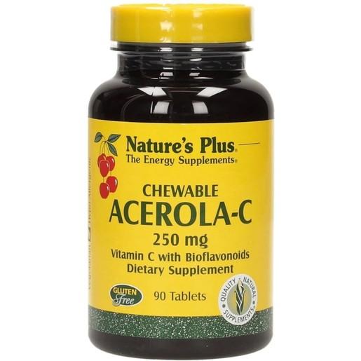 Nature\'s Plus Acerola-C Complex 250mg Συμπλήρωμα Διατροφής για την Ενίσχυση του Ανοσοποιητικού 90 Chew tabs