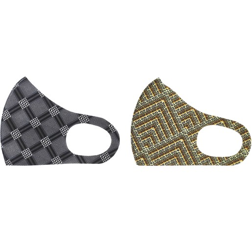 TiLi Fashion Face Mask Μάσκα Ενηλίκων Πολλαπλών Χρήσεων Μαύρο - Καφέ Εμπριμέ Σχέδιο 2 Τεμάχια