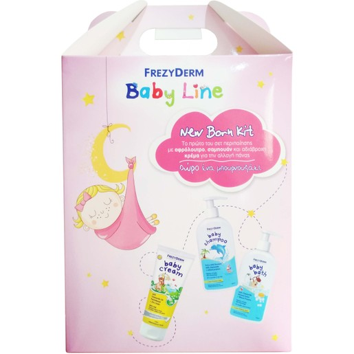 Frezyderm New Born Kit Baby Cream 175ml, Baby Shampoo 300ml, Baby Bath 300ml & Δώρο Ένα Μπουρνουζάκι για Κορίτσια