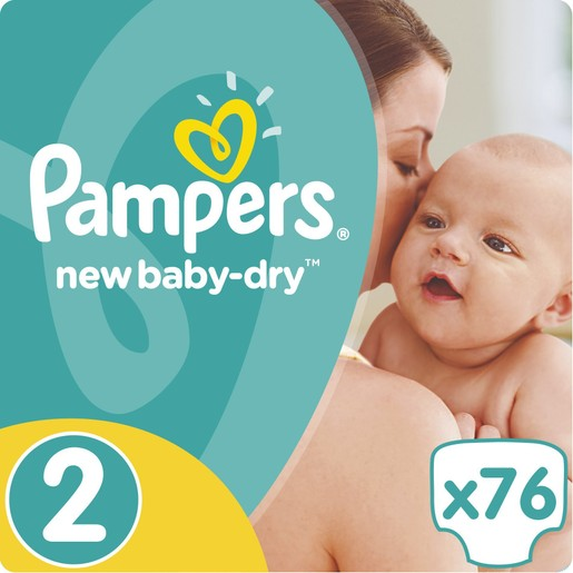 Pampers New Baby Dry Jumpo Pack No2 (3-6kg) 76 πάνες, μόνο 0,23 € / πάνα