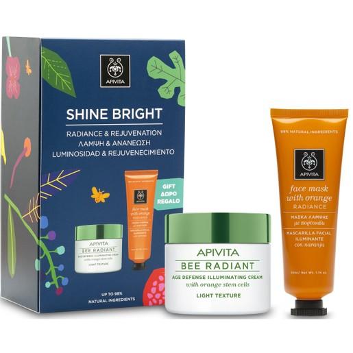 Apivita Box Shine Bright Bee Radiant Cream, Light Texture Κρέμα Αντιγήρανσης & Λάμψης 50ml & Δώρο Face Mask With Orange 50ml