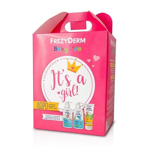 Frezyderm Baby It\'s a Girl Baby Cream 175ml, Baby Shampoo 300ml, Baby Bath 300ml & Δώρο μια Επώνυμη Βαμβακερή Πετσέτα - Κάπα