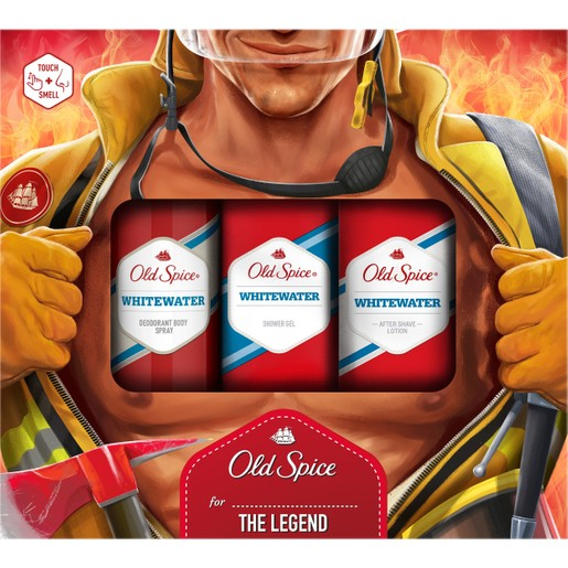 Old Spice Gift Box Fireman Whitewater Deodorant Body Spray Αποσμητικό 150ml, After Shave Lotion 100ml & Δώρο Shower Gel 250ml