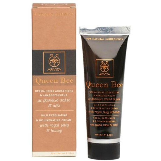 Queen Bee Mild Exfoliating Cream With Royal Jelly & Honey 75ml - Apivita