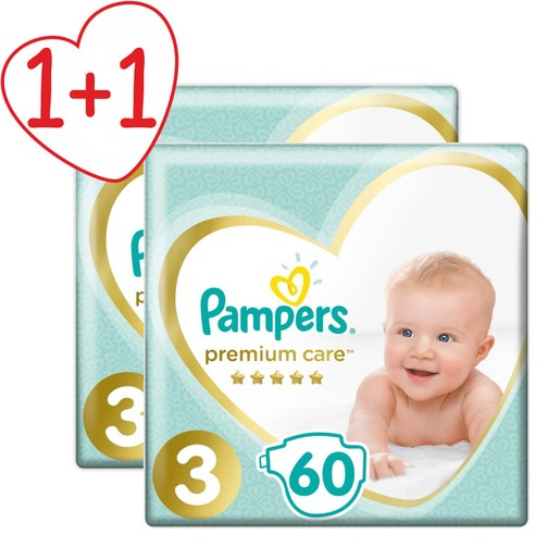 Pampers Πακέτο Προσφοράς Premium Care Jumbo Pack No3 (6-10kg) 2x60 πάνες 1+1 Δώρο