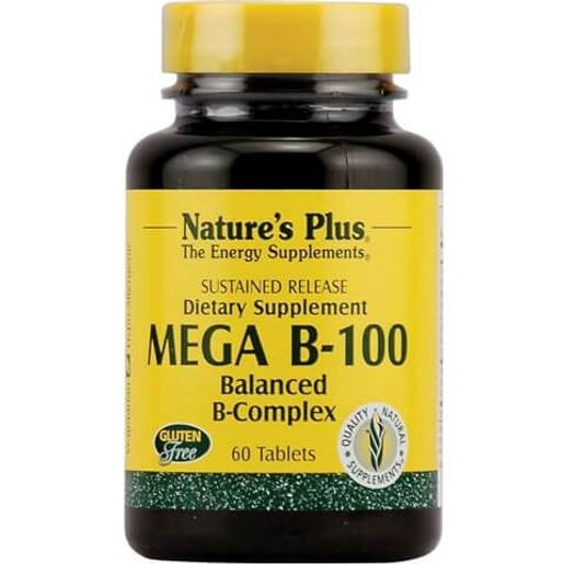 Nature\'s Plus Mega B-100 Πολυβιταμινική Φόρμουλα με Βιταμίνες του Συμπλέγματος Β 60tabs