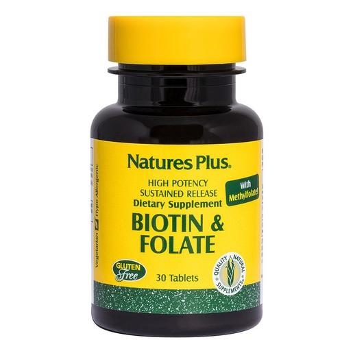 Nature\'s Plus Biotin & Folic Acid Συμπλήρωμα Διατροφής για την Καλή Υγεία των Μαλλιών & του Δέρματος 30tabs