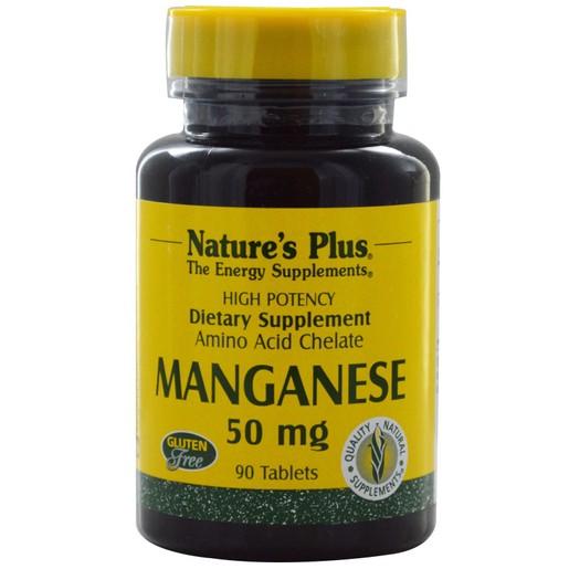 Nature\'s Plus Manganese 50 mg Συμπλήρωμα Διατροφής από Χηλικό Μαγγάνιο με Αντιοξειδωτικές Ιδιότητες 90tabs