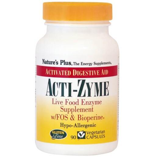 Natures Plus Acti-Zyme Συμπλήρωμα Διατροφής που Περιλαμβάνει Μεγάλο Φάσμα Πρωτεολυτικών και Άλλων Πεπτικών Ενζύμων 90Veg.Caps