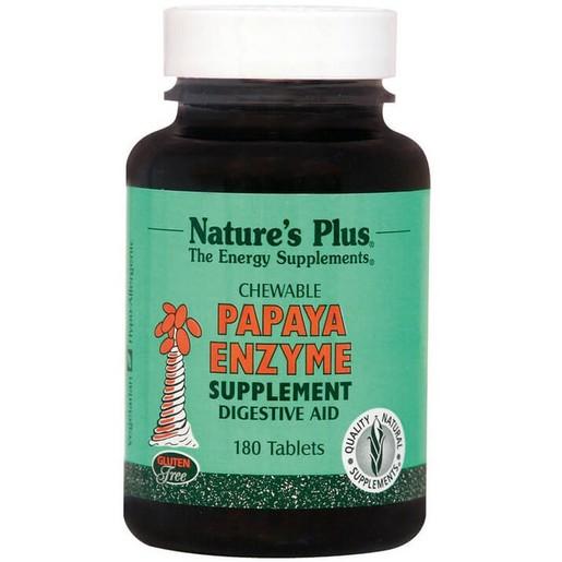 Nature\'s Plus Papaya Enzyme Chewable Συμπλήρωμα Διατροφής Φυσικό, Ασφαλές Βοήθημα Πέψης 180 Chew Tabs