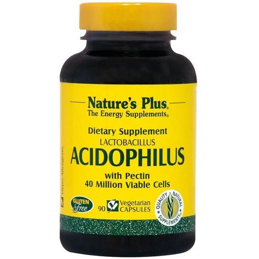 Nature\'s Plus Acidophilus With Pectin Συμπλήρωμα Διατροφής, Προβιοτικό που Βοηθά στην Υποστήριξη της Υγιούς Πέψης 90Veg.Caps