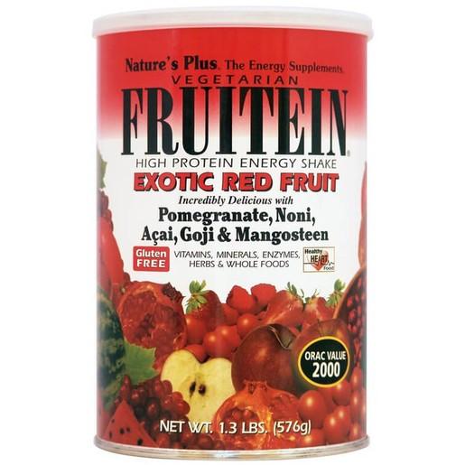 Nature\'s Plus Fruitein Exotic Red Fruit Shake 1,3lb Συμπλήρωμα Διατροφής,Φόρμουλα Πλήρους Πρωτεΐνης, Γεύση Εξωτικά Φρούτα 576gr