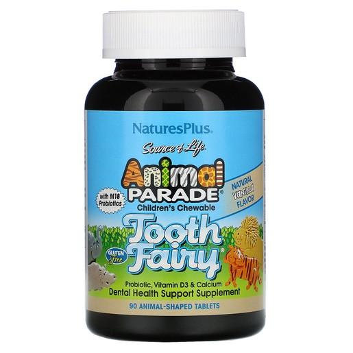 Nature\'s Plus Animal Tooth Fairy Συμπλήρωμα Διατροφής για την Ενίσχυση των Δοντιών & Οστών με Γεύση Βανίλια 90 Μασώμενα Ζωάκια