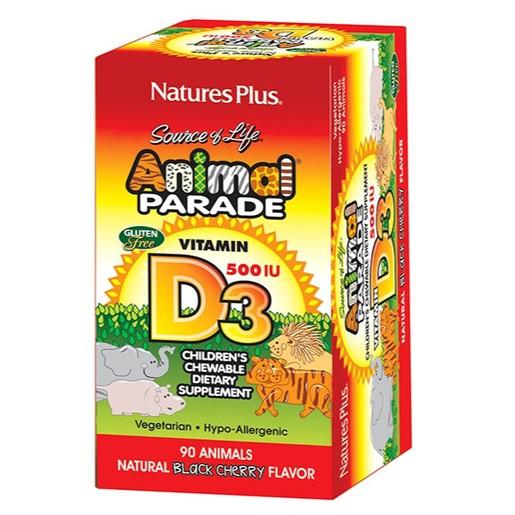 Nature\'s Plus Animal Parade Vitamin D3 500IU Συμπλήρωμα Διατροφής Βιταμίνης D 90 Μασώμενα Ζωάκια