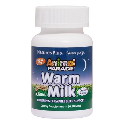 Nature\'s Plus Animal Parade Warm Milk Συμπλήρωμα Διατροφής, Ασφαλές Βοήθημα Ύπνου για Παιδιά 30 Chew Tabs