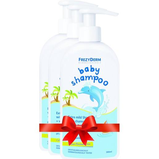 Frezyderm Πακέτο Προσφοράς Baby Shampoo Βρεφικό Σαμπουάν με Χαμομήλι Εστέρες Αμυγδάλου & Πρωτείνες Σιταριού 3x300ml