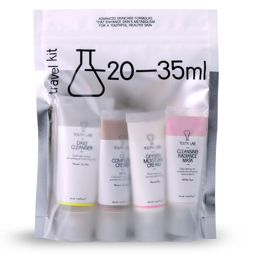 YOUTH LAB Travel Kit for Normal Skin Daily Cleans. 35ml, Cleans. Radiance Mask 20ml, CC Complete Cr. 20ml, Oxygen Moist. Cr 20ml