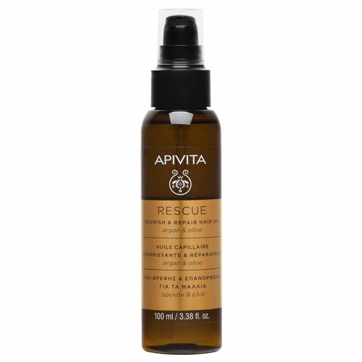 Apivita Rescue Hair Oil Nourishing & Repairing With Argan & Olive 100ml