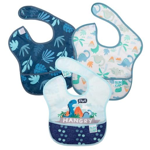 Bumkins Waterproof SuperBib Boy 6-24 months Αδιάβροχη Σαλιάρα Δεινόσαυρος για Αγόρι 6-24 Μηνών 3 Τεμάχια