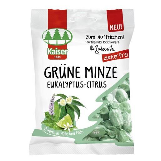 Kaiser Grune Minze Eukalyptus Citrus Καραμέλες με Ευκάλυπτο, Δυόσμο & Lime, Χωρίς Ζάχαρη 60gr