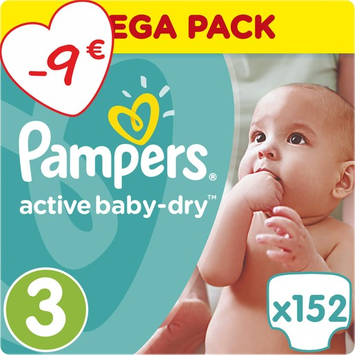 Active Baby Dry Mega Pack No3 (5-9kg) 152 πάνες, μόνο 0,23€ / πάνα - Pampers