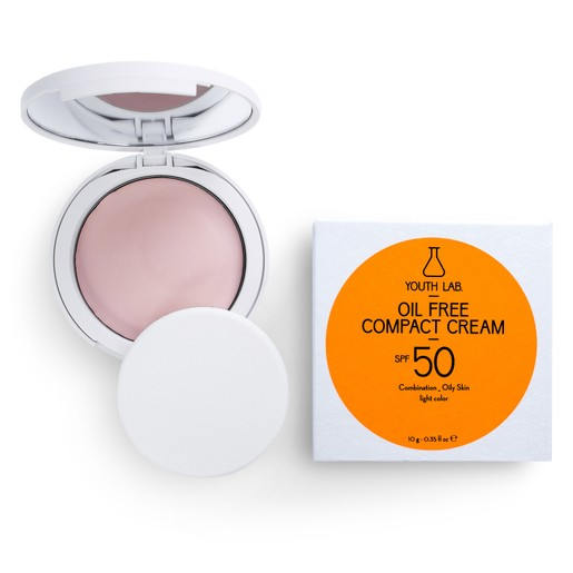 Youth Lab. Oil Free Compact Cream Spf50 Light Color Αντηλιακή Κρέμα σε Μορφή Compact Makeup για Μικτή - Λιπαρή Επιδερμίδα 10g