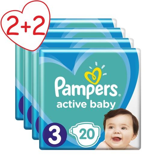 Pampers Πακέτο Προσφοράς Active Baby Carry Pack Νο3 (6-10 kg) 4x20 πάνες 2+2 Δώρο