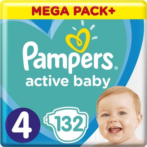 Pampers Active Baby Mega Pack Νο4 (9-14 kg) 132 πάνες