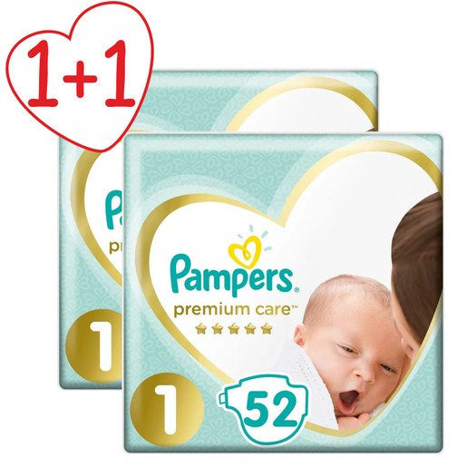 Pampers Πακέτο Προσφοράς Premium Care No1 Newborn (2-5kg) 2 x 52 πάνες 1+1 Δώρο