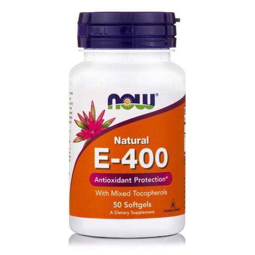 Now Foods E 400 IU Mixed Tocopherols / Unesterified Συμπλήρωμα Διατροφής Βιταμίνης Ε 50 softgels