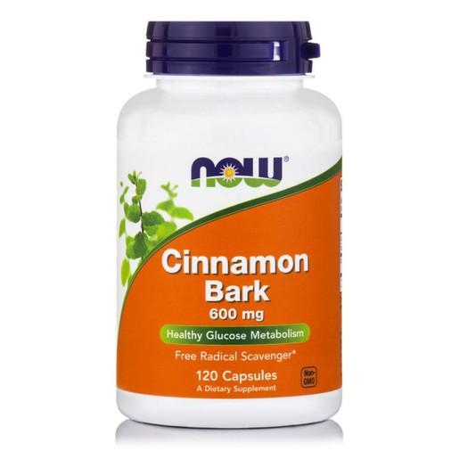 Now Foods Cinnamon Bark 600mg Συμπλήρωμα Διατροφής που Υποβοηθά τη Φυσιολογική Λειτουργία της Πέψης 120 Caps