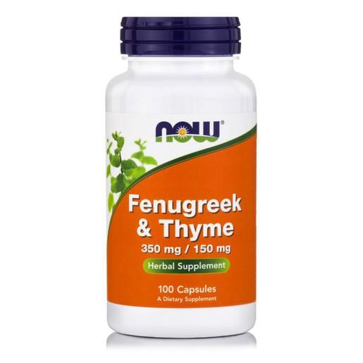 Now Foods Fenugreek & Thyme 350 mg / 150mg Συμπλήρωμα Διατροφής με Αποχρεμπτικές Ιδιότητες, Ενίσχυση του Αναπνευστικού 100Caps