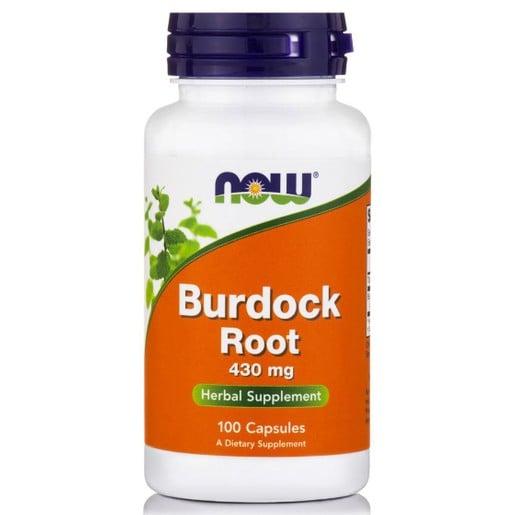Now Foods Burdock Root 430mg Συμπλήρωμα Διατροφής, Ισχυρό Αποτοξινωτικό & Αντιβιοτικό που Δυναμώνει το Ανοσοποιητικό 100 Caps