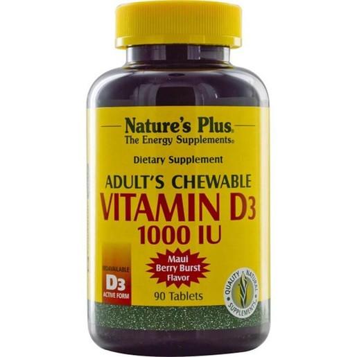 Nature\'s Plus Adult\'s Chewable Vit. D3 1000iu Μασώμενες Ταμπλέτες Βιταμίνης D3 90vegcaps