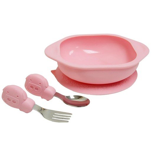 Marcus & Marcus Toddler Mealtime Set Σετ Φαγητού Γουρουνάκι, με Μπολ, Κουτάλι & Πιρούνι σε Ροζ Χρώμα