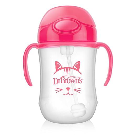 Dr Brown\'s Baby\'s First Straw Cup Κύπελλο με Εύπλαστο Καλαμάκι Ροζ TC91011 από 6 Μηνών 270ml
