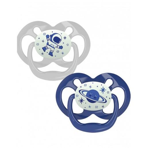 Dr Browns Advantage Πιπίλα Σιλικόνης Μπλε - Γκρι 6-18 Μηνών 2 Τεμάχια PA22004
