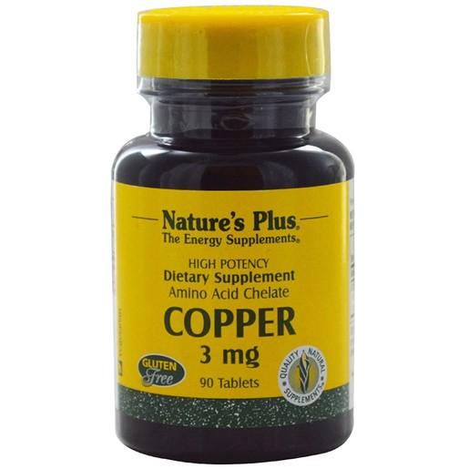 Nature\'s Plus Copper 3mg Συμπλήρωμα Διατροφής με Χηλικό Χαλκό για Ενίσχυση του Ανοσοποιητικού Συστήματος 90 tabs