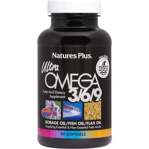 Nature\'s Plus Ultra Omega 3 6 9, 1200 mg Συμπλήρωμα Διατροφής με Ωμέγα 3 6 9 Λιπαρά Οξέα για Στήριξη του Καρδιαγγειακού 90caps