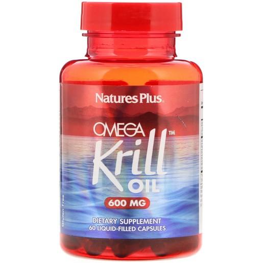 Natures Plus Omega Krill Oil 600mg Ιχθυέλαιο Κριλ 60 Liq-caps