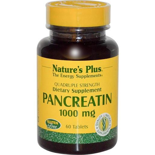 Nature\'s Plus Pancreatin 1000mg Συμπλήρωμα Πανγκρεατίνης, Βοηθά στην Πέψη Πρωτεϊνών, Υδατανθράκων & Λιπών 60tabs