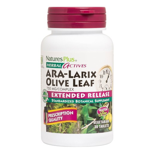 Nature\'s Plus Herbal Actives Ara-Larix Olive Leaf Complex 750mg Συμπλήρωμα Διατροφής για Ενίσχυση Ανοσοποιητικού 30tabs