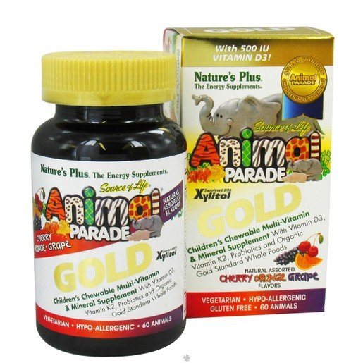 Nature\'s Plus Animal Parade GOLD Assorted Flavors Cherry, Orange, Grape, Πολυβιταμίνες 60 Μασώμενα Ζωάκια
