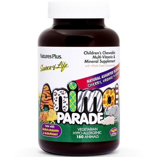 Natures Plus Animal Parade Cherry Orange Grape το Πληρέστερο Συμπλήρωμα για Παιδιά 180chews