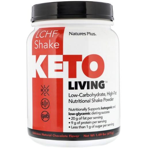 Nature\'s Plus Ketoliving Chocolate Shake, Συμπλήρωμα Διατροφής για Υποστήριξη Κετογονικής Διατροφής 675gr