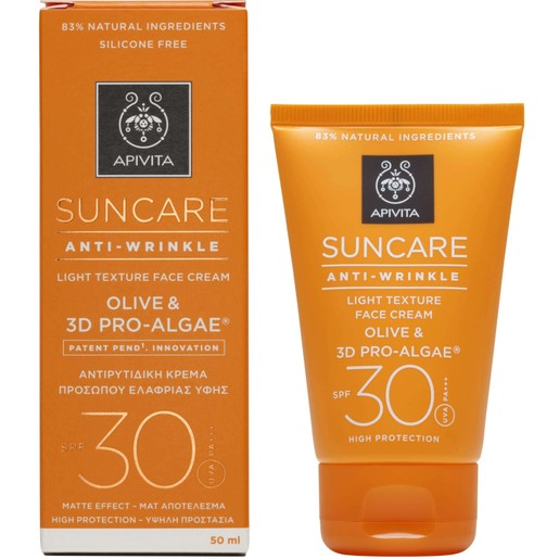 Apivita Suncare Anti-Wrinkle Light Texture Face Cream With Olive & 3D Pro-Algae Spf30, 50ml