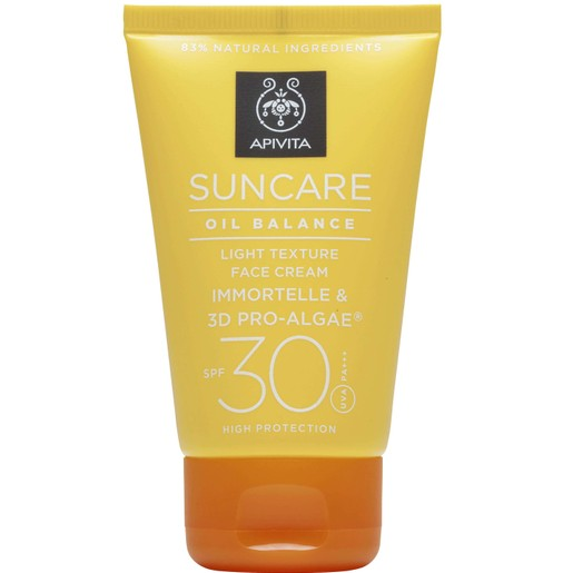 Suncare Oil Balance Light Texture Face Cream With Immortelle & 3D Pro-Algae Spf30, 50ml - Apivita