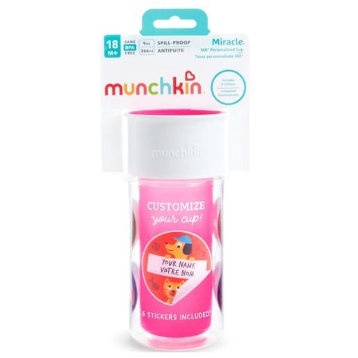 Munchkin Miracle 360 Insulated Sticker Cup Κύπελο Θερμός Ροζ 266ml