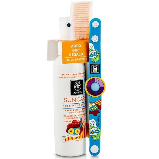 Apivita Πακέτο Προσφοράς Suncare Kids Protection Face & Body Spray Spf50 με Αλόη & Καλέντουλα 150ml & Δώρο Kids UV Bracelet